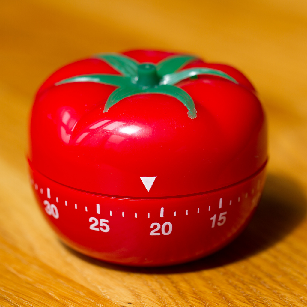 "A ""pomodoro"" kitchen timer, after which the method is named"